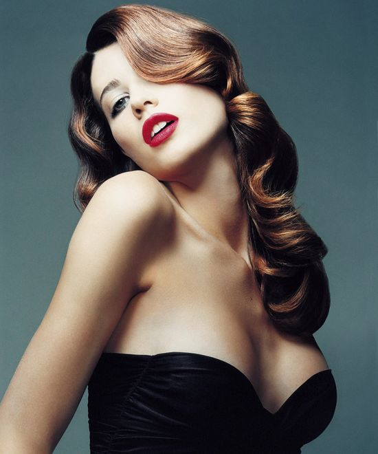 Old hollywood red carpet pin up look #retro #haircolors #hairdo #hairstyle #fashion #vintage #curls #editorial #hair