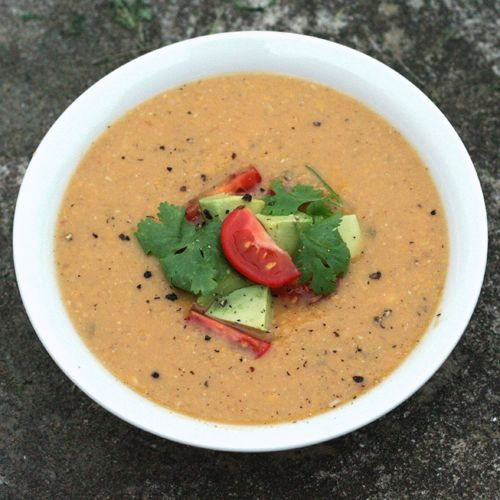 mexican corn soup with crushed avacado