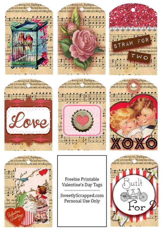 #Free Download of these Shabby & Vintage Tags #printable #valentine