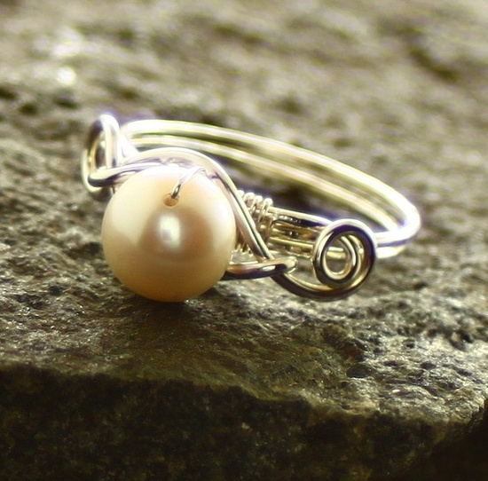 Black or White Swarovski pearl wrapped with sterling by IngoDesign, $34.00