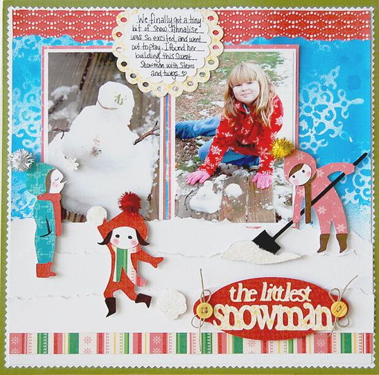 #papercraft #scrapbook #layout #Disney The littlest snowman layout made with the #Cricut