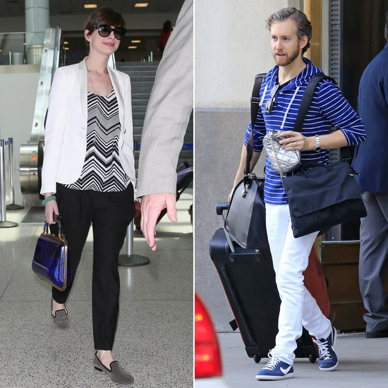 Anne Hathaway and Adam Shulman Land in LA Ahead of the MTV Movie Awards