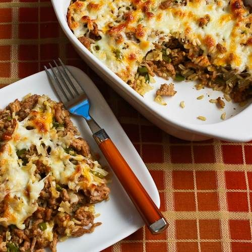 Easy Brown Rice Casserole with Turkey Sausage and Bell Pepper