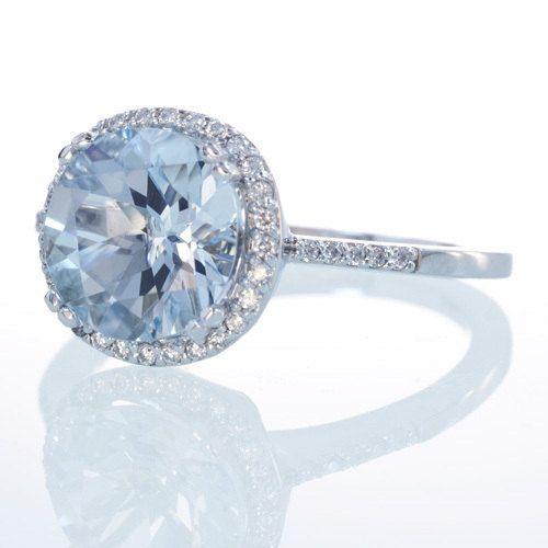 14K White Gold Aquamarine Diamond Halo Engagement Wedding Right Hand Something Blue Anniversary Ring. $750.00, via Etsy.