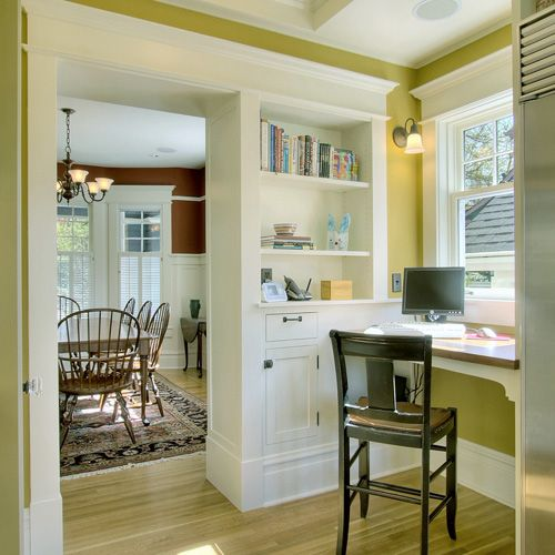 Office Nook with Built-ins in Kitchen