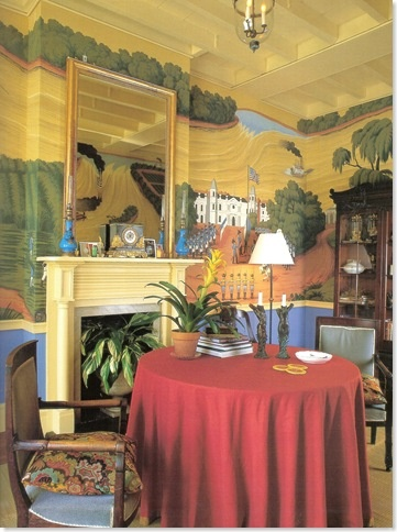 Adore the painted walls - Thomas Jayne's French Quarter dining room in which he chose to design new scenic wallpaper,  handpainted in China that depicts scenes of the Mississippi from a childhood book he received from his grandparents.