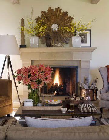 sunburst mirror, forsythia branches, tripod floor lamp, and #home interior design 2012 #interior decorating #home interior #home design ideas