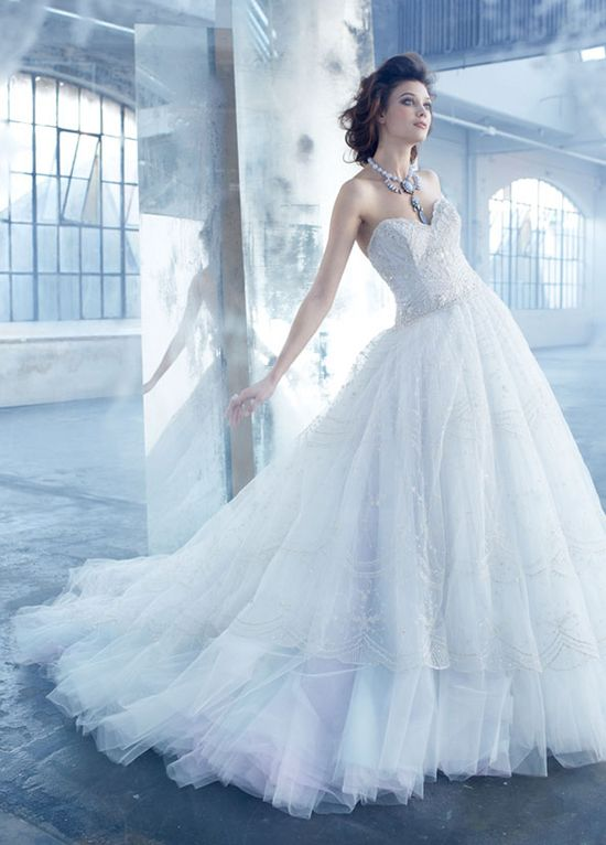 Dream! Lazaro Bridal Spring 2013     Tulle Ball Gown, Hand Embroidered with overlay sweetheart sheer dropped, full gathered sweep train