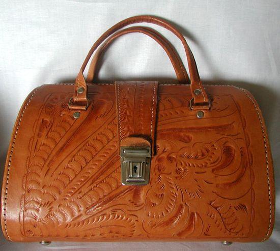 Butterscotch Tooled Leather Vintage Handbag
