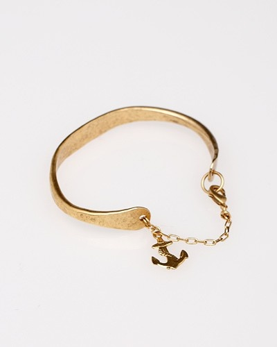 Hammered Charm Cuff #Anchor #gold #jewellery #accessories #trends #style #fashion