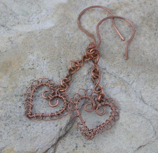 Laced Copper Heart Earrings by winddancerstudios on Etsy, $20.00