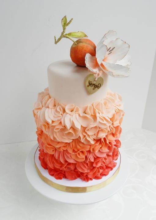 Peach ombre ruffle cake
