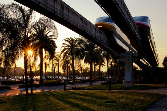 Monorails + sunset! Love!