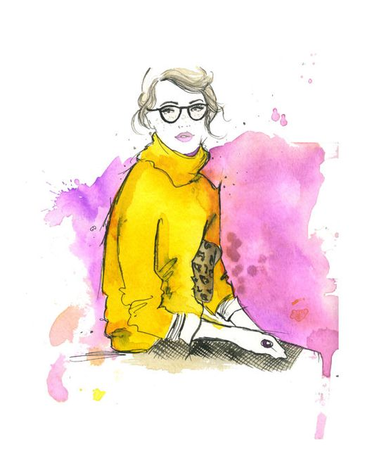 Watercolor Fashion Illustration  The Pretty by JessicaIllustration, $25.00