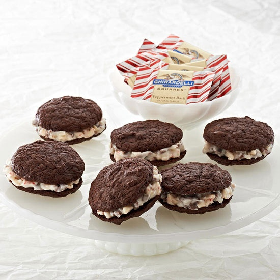 Guests will love these Peppermint Chocolate Sandwich Cookies! More #chocolate recipes: www.bhg.com/...
