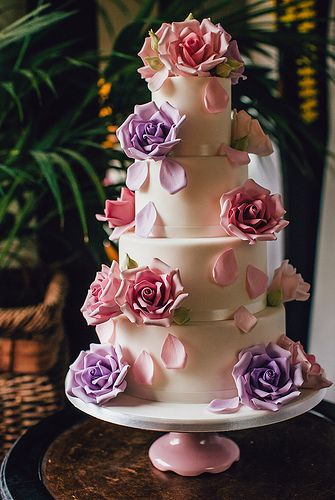 Pretty #pink and #purple #wedding #cake by Ben the Cake Man