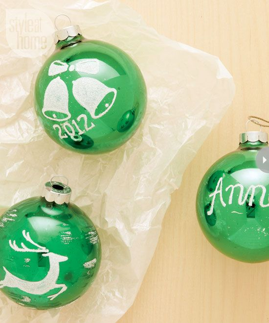 Personalized shimmery Christmas ornaments