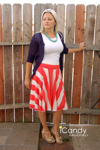 skirt tutorial:  I love the way the striped fabric works on this circle skirt