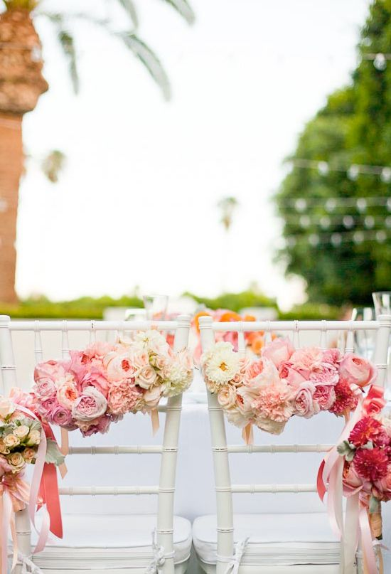 floral garlands for the bride and groom chairs #wedding #inspiration #details #decor #flowers #ombre #blushpink #pink