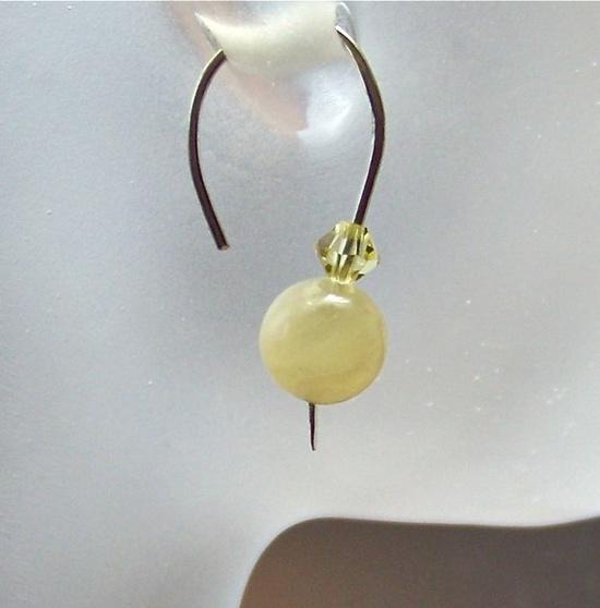 Pastel Yellow Aragonite Gemstone & Argentium by looksgoodonya, $26.00
