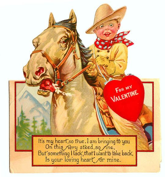 Vintage Valentine: Horse and Cowboy