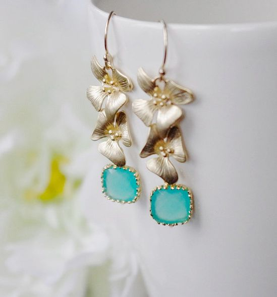 Earrings with Mint Opal Framed Briolettes in Gold by SarahOfSweden