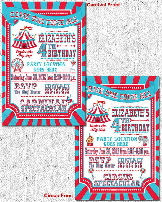 Circus Carnival Theme Party Invitations PRINTABLE by MetroEvents, $6.98