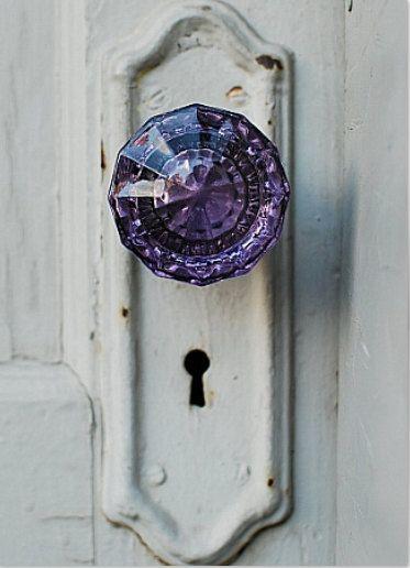 pretty purple glass doorknob