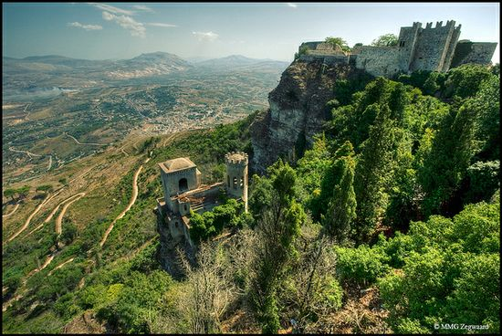 Erice, Sicily (Italy) by Martino ~ NL, via Flickr: One of those great walled towns with a park inside the walls that allows you to look back at the city.
