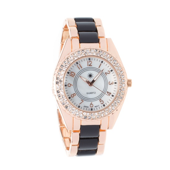 Rose Gold w/ Black Rhinestone Watch