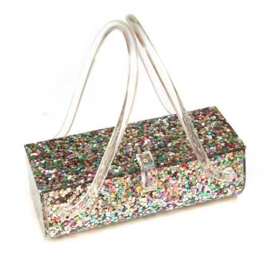 A great vintage confetti lucite handbag. #vintage #handbags #purses #accessories
