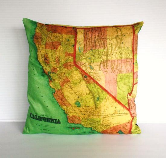 CALIFORNIA vintage map organic cotton cushion by mybeardedpigeon, $55.00