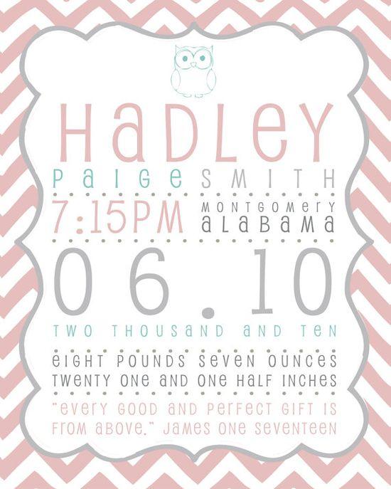 Printable Baby Girl & Boy BIRTH ANNOUNCEMENT, Typography Birth Info, Digital, Art for Nursery, Birth Stats Print, Baby Name, Chevron