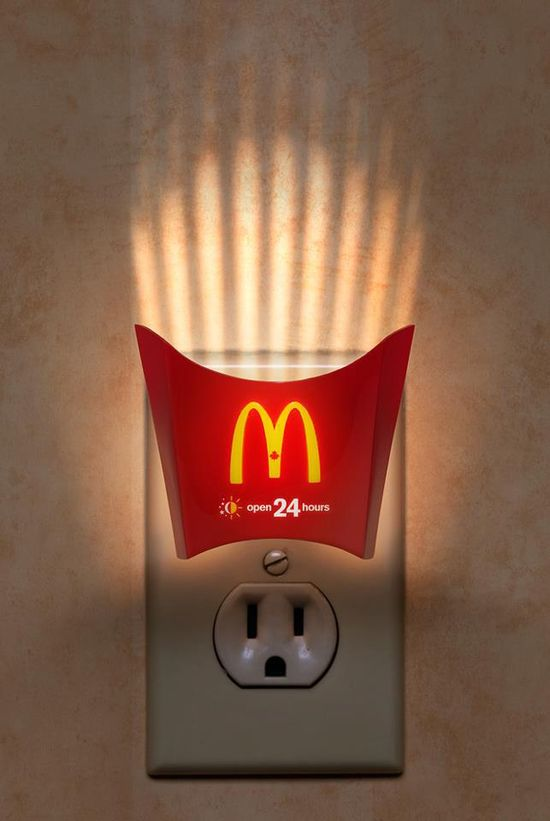 The McDonalds Fry Lights billboard advertise campaign was run in 2010 in Canada to deliver the message McDonalds  is now Open 24 hours