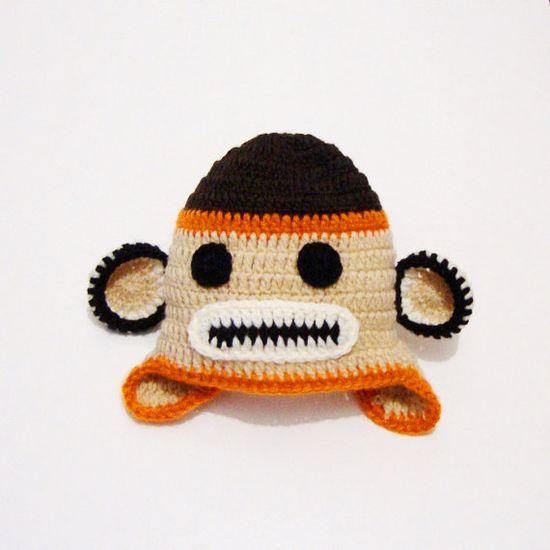 Baby Monkey Hat Baby Crochet Boy Monkey Hat Baby Girl by PeppyBaby, $28.00