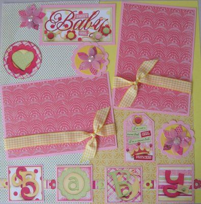 Two 12x12 Premade Sweet Baby Girl Scrapbook Pages