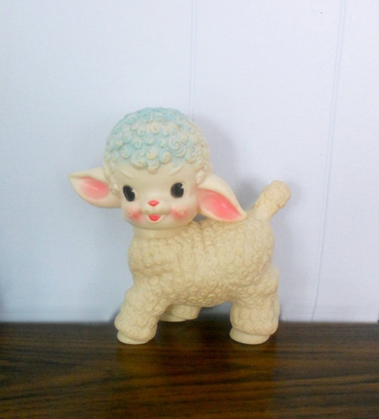 Vintage Squeaky Toy Little Lamb by Sun Rubber.  One of my baby toys and I still have it.  mom said it was from my Granda Charlie.  Has some bite marks on the ears, but still in good shape.