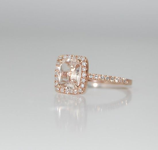 1.8ct Cushion peach champagne sapphire in 14k rose gold diamond ring, so elegant!