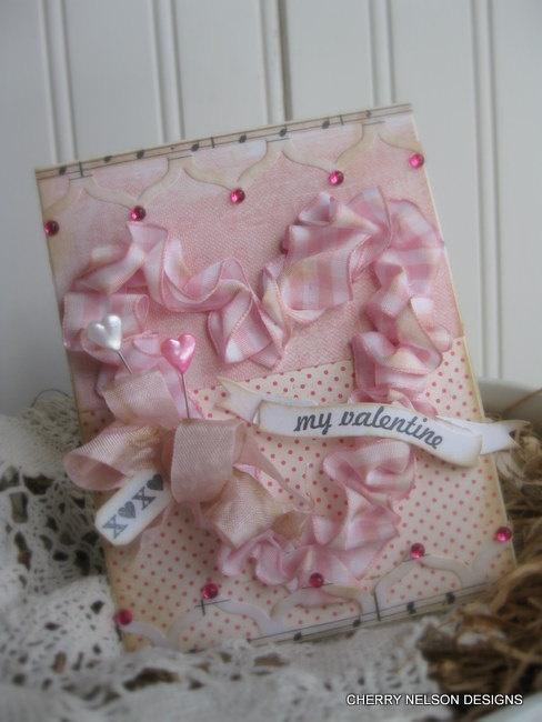 shabby chic valentine card- xoxo my valentine card- sewn ruffled heart handmade card