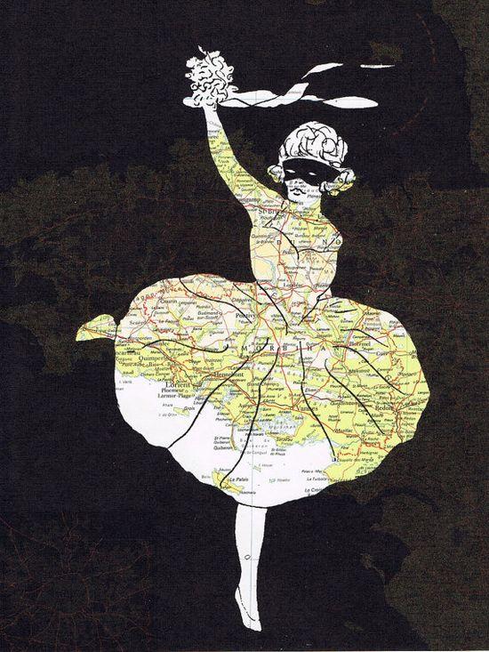 Ballerina.Collage.Birthday giftMap by studioflowerpower on Etsy, $8.50