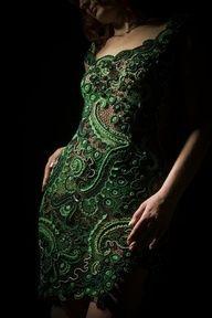 green emerald short dress