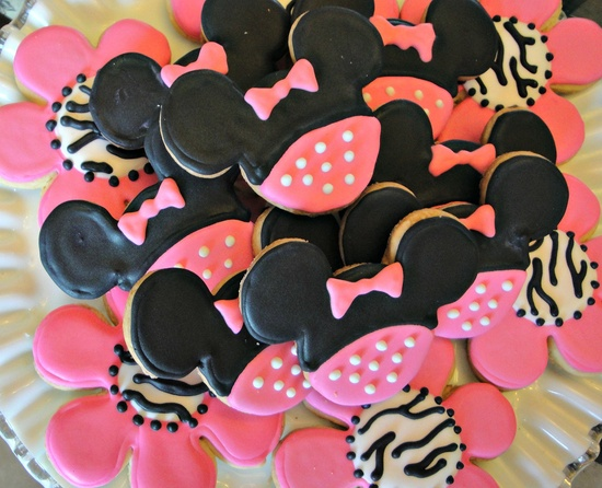 Minnie Mouse Decorated Sugar Cookies Birthday Favors Zebra Cookies