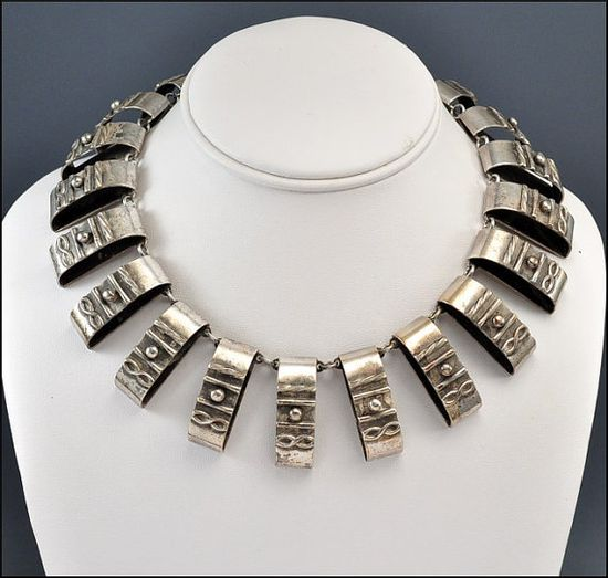 1940s Art Deco Silver Egyptian Necklace