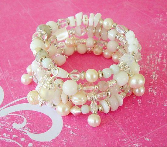 Boho Bracelet Bohemian Bride Pearl Jewelry Bridal by BohoStyleMe, $78.00