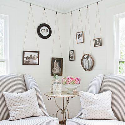 Unique idea for hanging pictures.