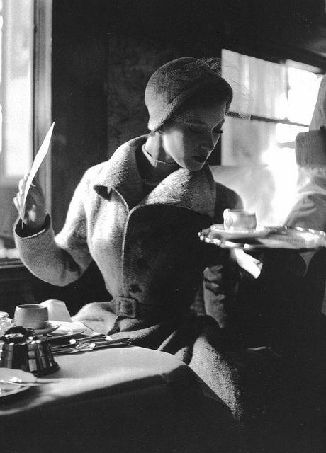 Paris, 1949. Aboard the Flèche D'Or, photographed by Lillian Bassman.