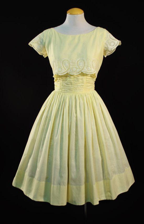 Vintage 1950s Yellow Eyelet Spring Dress
