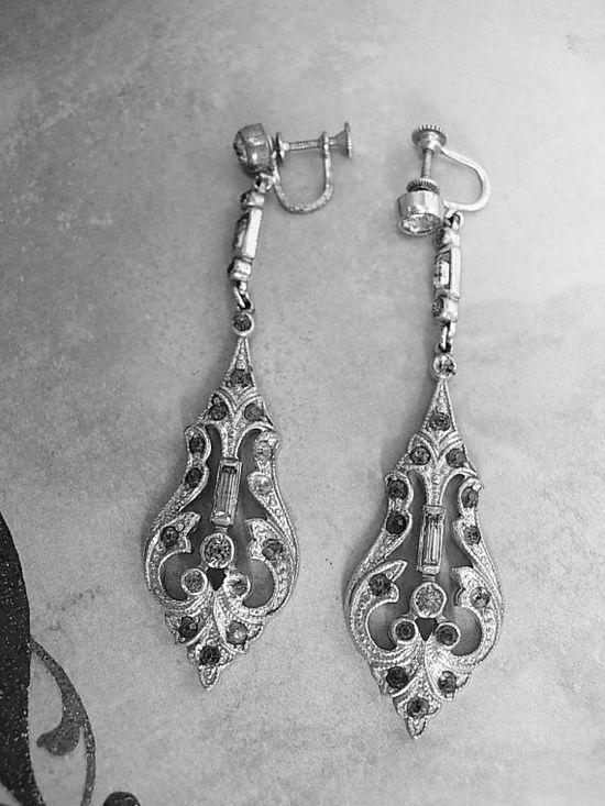 Antique Art Deco Dangling Earrings