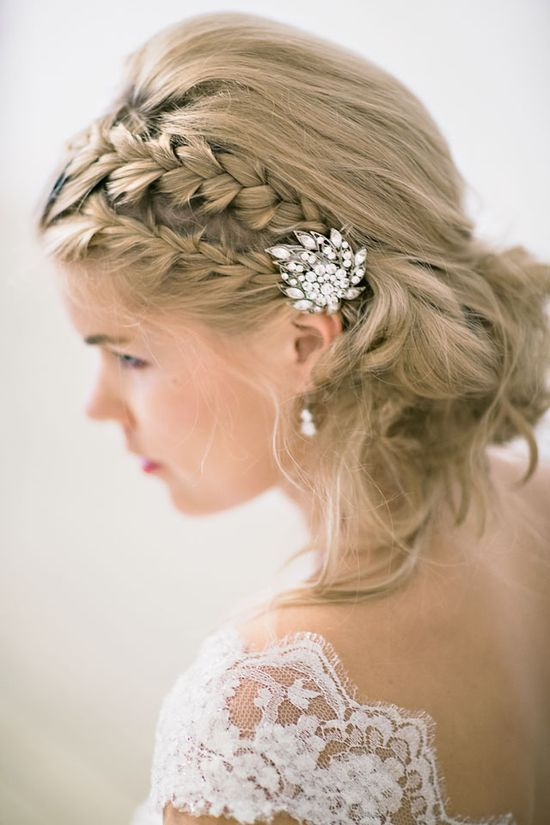 braided hairstyle with sparkles