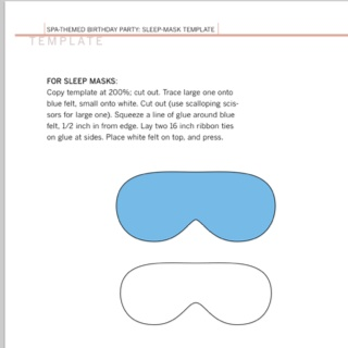 Use this as a starting template to make a travel mask out of any fabric you want; Via Martha Stewart.